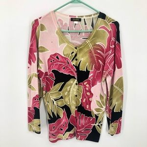Pink & Green Palm Leaf Cardigan Women's Small
